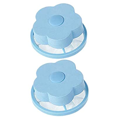Mesh Filtering Hair Removal Floating,veyikdg 2Pcs Flower-Type Household Filter Bag Washer Style Reusable Washing Machine Laundry Clean Lint Bags Filters Net Pouch Portable Washer Catcher (Blue)