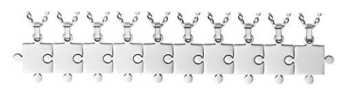 Godyce Puzzle Necklace 10 Piece Best Friends BFF - Stainless Steel with Gift Box (10-Piece)
