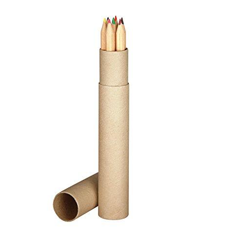 7 lápices de colores largos / natural / en práctico estuche de cartón