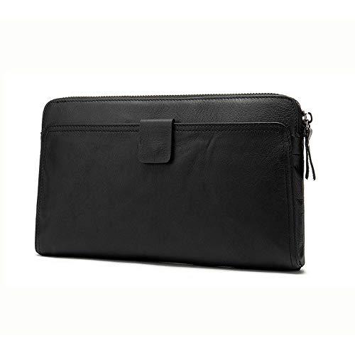 A-hyt Cómoda y cómoda bolsa de mano para hombre con clip de dinero de cuero para negocios, bolsa nómada para teléfono, fácil de caminar (color: negro, tamaño: 24 x 3 x 14 cm)