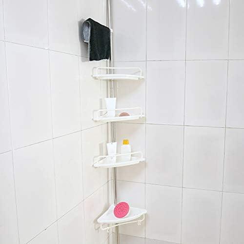 Tension Corner Shower Rack 4 Tier Adjustable Telescopic Bathroom Corner Shelf Shower Caddy Pole product image