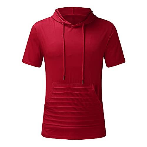 MEITING Sommer Kurzarm-T-Shirt mit Kapuze für Herren, Big Tasche 2021 Herren Hemd Kurzarm Einfach Regular Fit Bluse für Männer Workout Gym Sport Sweatshirt Streetwear