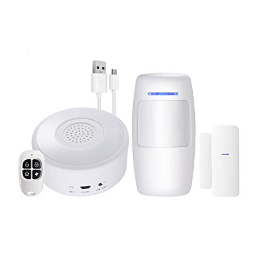 Kit Alarma para casa WiFi Sistema Completo con 1 Sirena 3 Sensores de Puertas/ventanas 1 Mando a Distancia Alarma de Ventana de Puerta Alarma de aplicación a través de la Red móvil by ATMOSS SGR-001