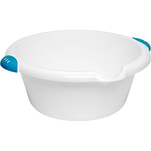 VDM Home Products® RUNDE WASCHSCHÜSSEL Ø 33 cm – Fassungsvermögen 6 Liter. Mit Inhaltsanzeigen, bequemen Soft-Grip-Griffen und Ausgießer