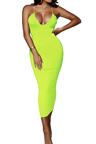 PRIMODA Women's Sexy Neon Asymmetrical Spaghetti Strap Dress Deep V-Neck Sleeveless Bodycon Midi Club Dress (Neon-Green,M)