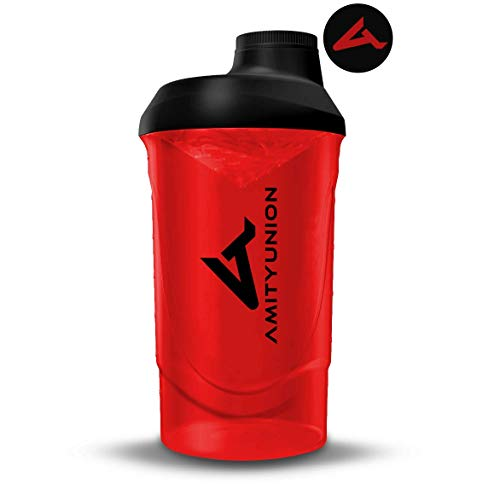 Shaker per proteine - L'ORIGINALE di AMITYUNION - Senza BPA con setaccio, scala per frullati di siero di latte cremosi, tazze Gym Deluxe per isolati e concentrati sportivi, (Rosso nero)