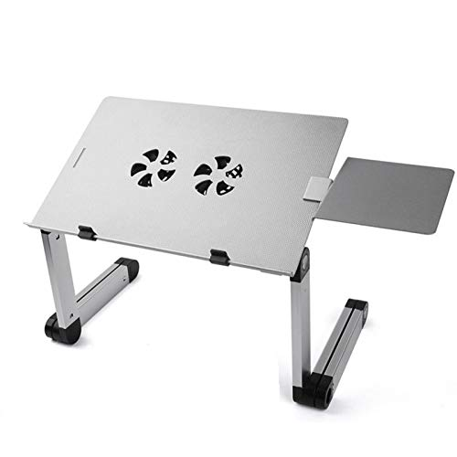 Portable Foldable Lap Desk with 2 CPU Cooling USB Fans and Mouse Pad Plate,Foldable Aluminum Alloy Laptop Stand,Use for Office Home-Silver 25x20x12inch