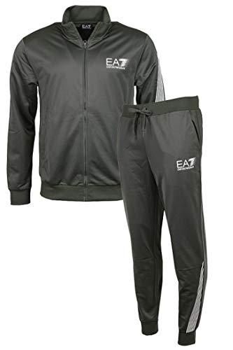 EA7 Tuta Uomo Acetata Con Zip e Logo Art.3KPV60-PJ08Z 1200 Col Nero (XXXL)