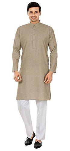 Wollmischung Baumwolle Herren Kurta Pyjama Indische Kleidung (Braun, XL)