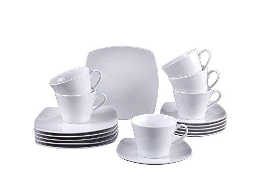 vivo Villeroy & Boch Group 19-5261-7126 Simply Fresh Kaffeeset 18 teilig Geschirrsets, Porzellan, weiß, 37.8 x 18.3 x 22.1 cm, 18 Einheiten
