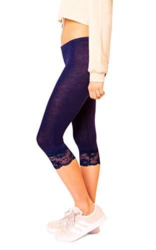 Easy Young Fashion Damen Basic Sommer Jersey Capri 3/4 Leggings Leggins Unterzieh Hose Kurz Baumwolle Stretch (One Size, Mit Spitze Dunkelblau)