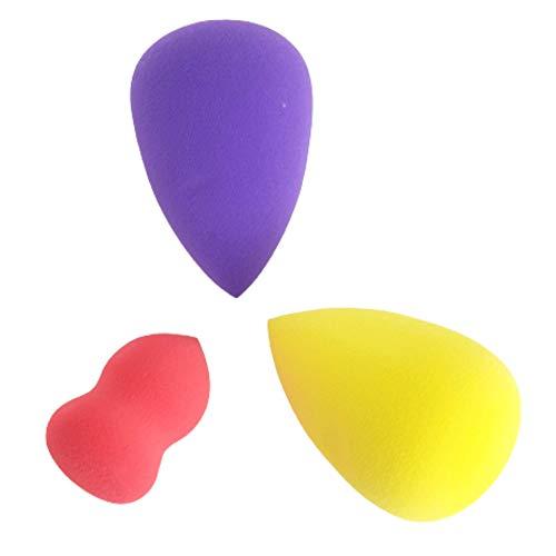 Juego de 3 esponjas de maquillaje multicolores, ideal para líquidos, cremas y polvos, esponjas de maquillaje de Eponge Blender Beauty para aplicar corrector, hipoalergénico e inodoro.