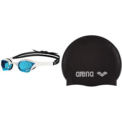 ARENA Cobra Ultra Gafas de Natación, Unisex Adulto, Azul/Blanco, Talla única + Classic Gorro de Natación, Unisex Adulto, Negro (Black/Silver), Talla Única