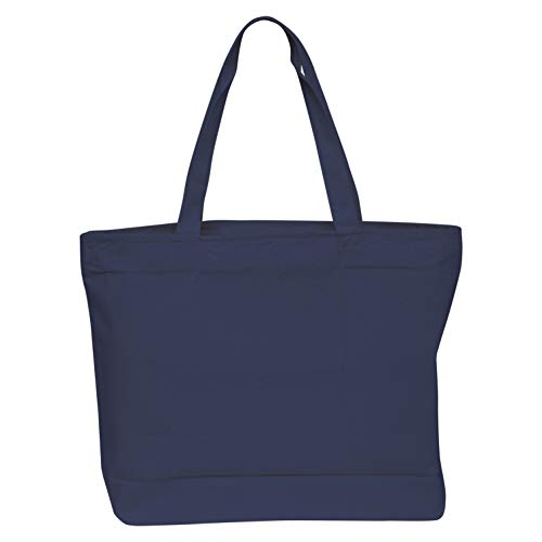 Heavy Canvas Large Tote Bag with Zippered Closure for Beach, Grocery Shopping, Travel by TBF Bags (Navy, 2)
