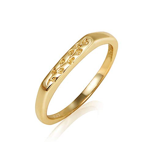 YeGieonr 925 Sterling Silver for Women-18K Gold Plated Eucalyptus Engraved Signet Ring Minimalistic Statement Ring Delicate Personalized Jewellery Gift for Women/Girls (Yellow Gold, P1/2)