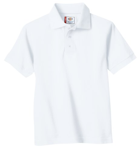Dickies Big Boys' Short Sleeve Pique Polo Shirt, White, Medium (10/12)