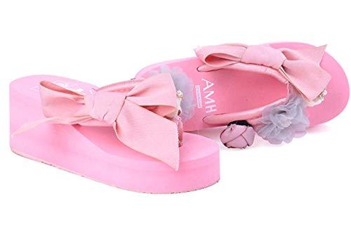 Señoras Lace Up Little Bey Bow Skege Slippers Open Toe Trovible Zapatos Casuales Cómodo Plataforma Sandalias Playa Playa Viajes Zapatillas de Viaje Outdoor Non-Slip Flower Decoración,Rosado,39