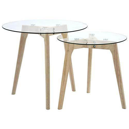 vidaXL Beistelltisch 2er-Set Satztisch Couchtisch Wohnzimmertisch Kaffeetisch Sofatisch Tisch Glastisch Büro Hartglas Eichenholzbeine