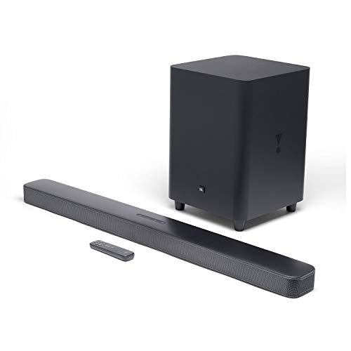 JBL Bar 5.1 by Harman Ultra HD 4K Pass Through, 5.1 Channel Soundbar with Wireless Sub-woofer, Panoramic Surround Sound, Multi-Beam Sound Technology & Built-in Chromecast (550 Watts, Black)