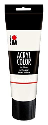 Marabu 12010025070 - Acryl Color weiß 225 ml, cremige Acrylfarbe auf Wasserbasis, schnell trocknend, lichtecht, wasserfest, zum Auftragen mit Pinsel und Schwamm auf...