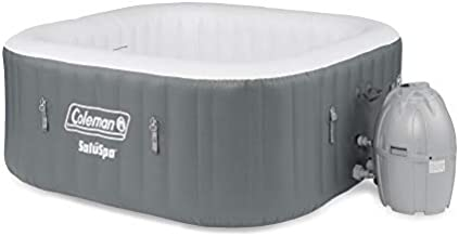 Coleman SaluSpa 4 Person Square Portable Inflatable Outdoor Hot Tub Spa, Gray