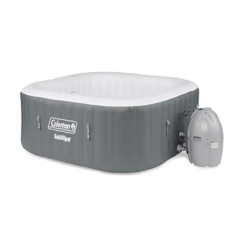 Coleman 15442-BW SaluSpa 4 Person Portable Inflatable Outdoor Square Hot Tub Spa with 114 Air Jets,...