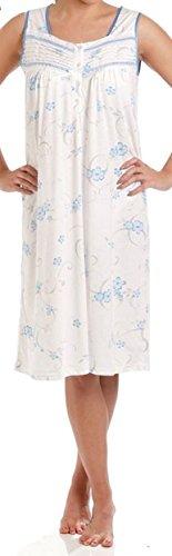 Lady Olga - Camisón de algodón para mujer, diseño floral sin mangas, ropa de noche 0103 azul azul 50/52