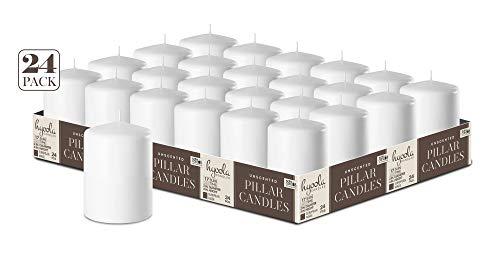 Hyoola Weiß Stumpenkerzen 50 X 76 mm - 24er Pack - 17 Stunden Brenndauer - Unparfümiert Groß Stumpen Kerzen
