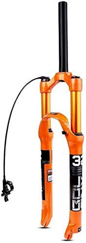 XLYYHZ Horquilla de suspensión para Bicicleta de montaña 26 27,5 29 Pulgadas, Horquillas MTB Rectas/cónicas QR 9 mm de Recorrido 120 mm