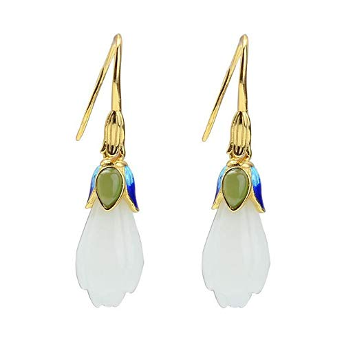 S925 / 925 Sterling Silver Gold-Plated Gemstone Crystal Earrings, High-End Elegant Ladies Jade Earrings, Perfect Holiday Gifts For Ladies, Low Strain And Nickel-Free Pendant Earrings 1