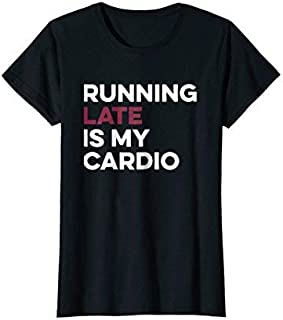 Womens Running Late Is My Cardio Anti Exercise T-Shirt Large Black [並行輸入品]