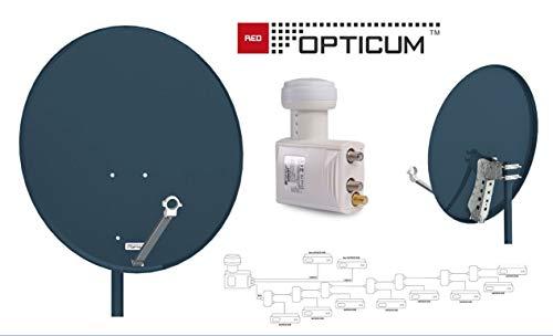 Opticum Red QA80 Satantenne Stahl Anthrazit 80 cm + Opticum Red Robust Legacy Unicable 2 SCR 2 LNB / 8+2 Teilnehmer