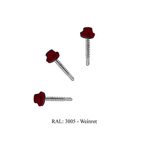 Trapezblech Schrauben Bohrschrauben Dach Fassadenschrauben 4,8x35mm 250 Stück - RAL: 3005 (Weinrot)