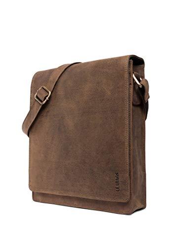 LEABAGS London Leder-Umhängetasche I Laptoptasche bis 13 Zoll I Messenger Bag aus echtem Büffel-Leder im Vintage Look I Schultertasche I Arbeitstasche I 26x8x31cm (Sugarcane)