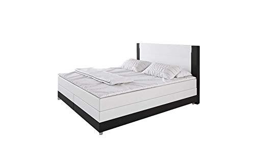 'Cecina' Boxspringbett 180x200cm LED Bett Doppelbett Komplettbett Hotelbett Kunstleder - weiß/schwarz