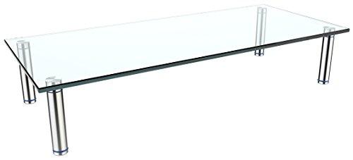 RICOO TV Board FS7828-C Glas Aufsatz Tisch Ständer für Lowboard Sideboard & Kommode Bildschirmständer Standfuß Bildschirmerhöhung Stand Rack Regal Lift Podest | Silber Klar-Glas Transparent Hochglanz