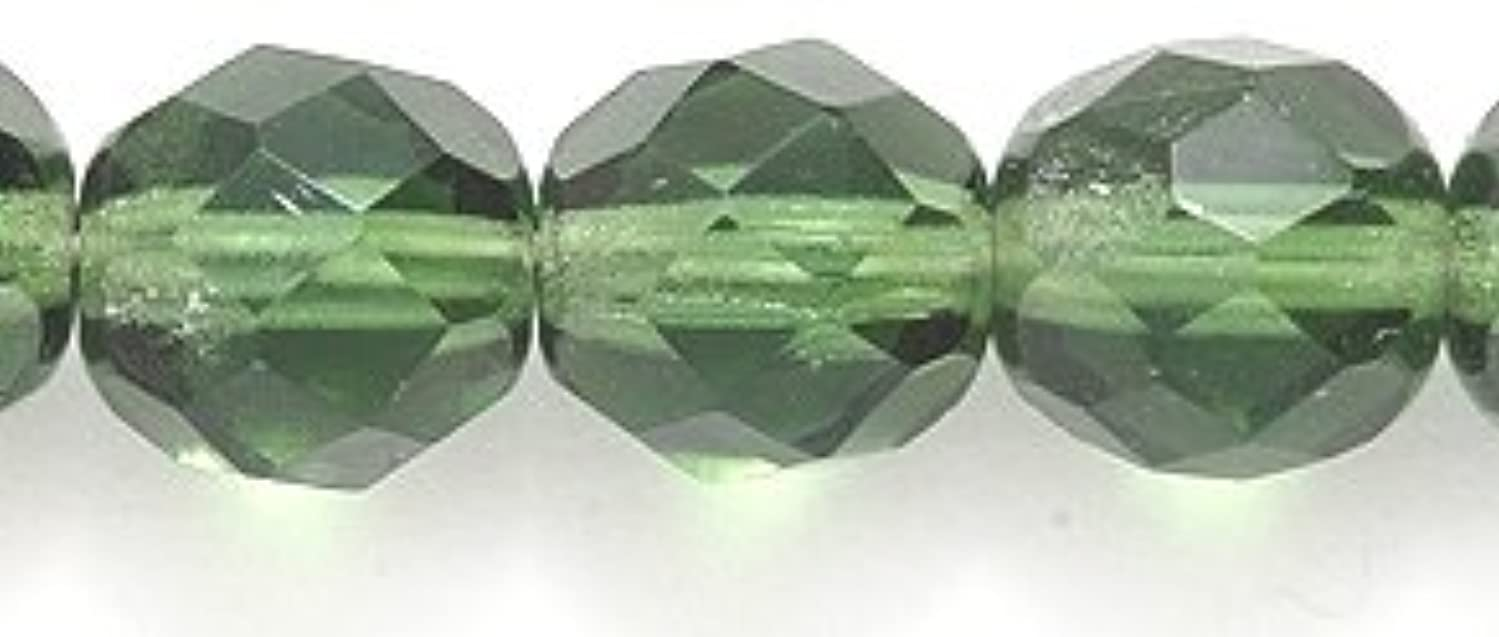 Preciosa 8FC283-D Czech Fire 8mm Polished Glass Bead, Faceted Round, Transparent Dark Olive, 120-Pack