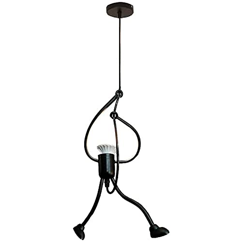 QWQW Araña de Villano Creativo Little Iron Man Art Lámpara Colgante Lámpara de Techo Retro Lámpara Colgante de Hierro Forjado Instalación de luz Interior Minimalista Moderna,A