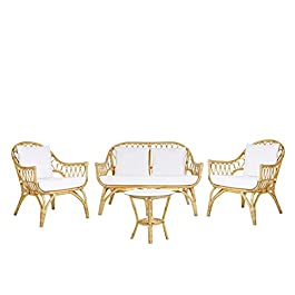 Beliani – Salon de Jardin – Sibari – Canapé 2 Fauteuils et Table Basse, en Rotin, Coussins Blancs