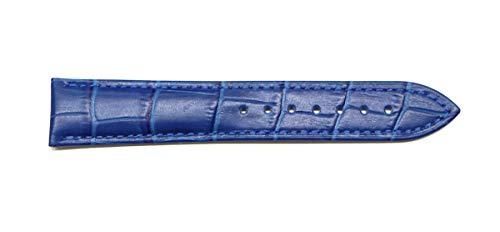 『腕時計 ベルト 21mm レザー クロコダイル型押し 牛 革 青 プッシュ式 Dバックル ピンク ゴールド l001bu-pd-p』の2枚目の画像