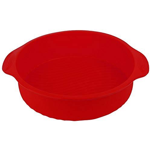 【Cadeau de Noël】Moule à gâteau de forme ronde, 11.42 pouces 3D Silicone Moule à gâteau de cuisson DIY Baking Cake Pan Tray(rouge)