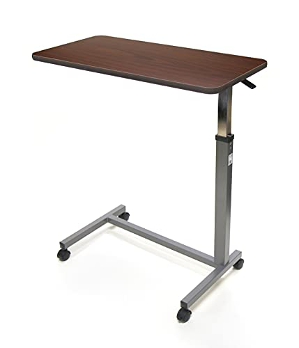 Invacare Hospital Style Overbed Table with Auto-Touch Adjustable Height and Wheels, Fits Over Beds and Bedside, 6417