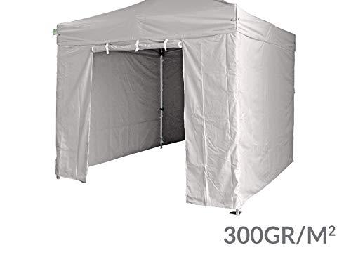 Geweldige set met 4 zijwanden – 3 massieve wanden met een deur, 300 g/m2, polyester, pvc-coating, 3 x 3 m, productlijn 40 mm. grijs.