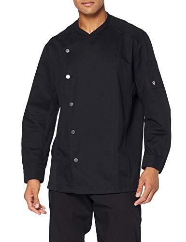 BP 1595-485-32-XL - Giacca da cucina da uomo, maniche lunghe, inserti in piqué e sistema di sollevamento sulle braccia, 215,00 g/m², colore nero, XL