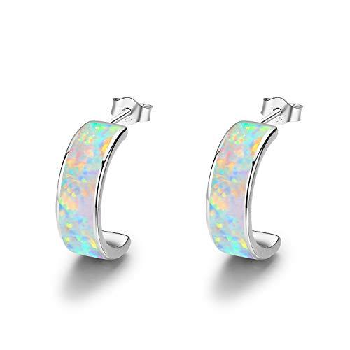 925 Sterling Silber Creolen Ohrringe für Damen Creolen Ohrringe Opal Ohrringe C Creolen Kreis Ohrringe(Silber)