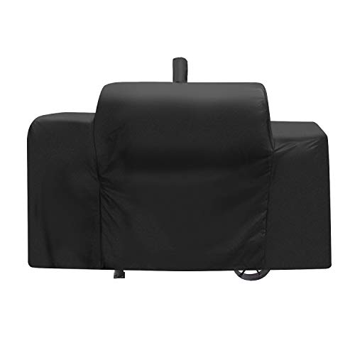 SunPatio Heavy Duty Waterproof Grill Cover for Oklahoma Joe's Longhorn Combo Grill, Outdoor Gas Charcoal Smoker Barbecue Cover, Durable FadeStop Material, All Weather Protection, Black