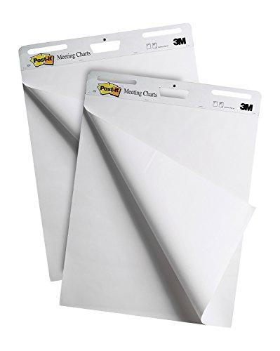 Post-it Super Sticky Lavagna Fogli Mobili, 2 Lavagne Adesive per Ufficio da 30 Fogli, Carta Bianca, Formato 60x70 cm e 4 Blocchetti Adesivi Colorati da 45 Foglietti Adesivi in Colori Assortiti Omaggio