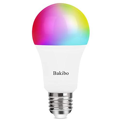 bakibo Bombilla LED Inteligente WiFi Regulable 9W 1000 Lm Lámpara, E27 Multicolor Bombilla Compatible con Alexa, Echo e Google Home, A19 90W Equivalente RGBCW Color Cambio Bombilla, 1 Pcs