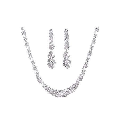 Gcroet Nupcial Collar de Joyas aretes Conjunto Pendientes Colgantes de Cristal Rhinestone Collar + joyería para Fiestas de Boda 3 PCs/Sistema (Plata)