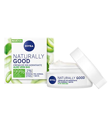 Nivea Naturally Good Crema de Día Hidratante con Aloe Vera Bio, Piel Normal y Mixta, 50ml